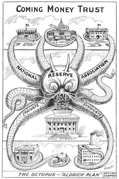 """The Octopus"" - Aldrich Plan, Cartoon from 1912"