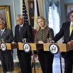 Philippine Defense Secretary Voltaire Gazmin and Foreign Secretary Albert del Rosario, and Secretary of State Hillary Clinton and Defense Secretary Leon Panetta at a joint press conference in Washington, D.C. April 30, 2012