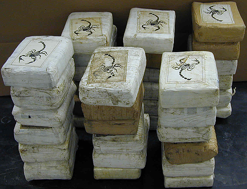 Bricks of cocaine with the signature scorpion of the Sinaloa cartel