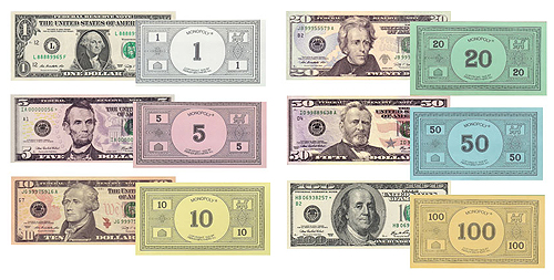 Federal Reserve monopoly money alongside Parker Brothers Monopoly® money