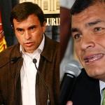 Bolivian Minister Juan Ramon Quintana (left) and Ecuadoran President Rafael Correa (right)