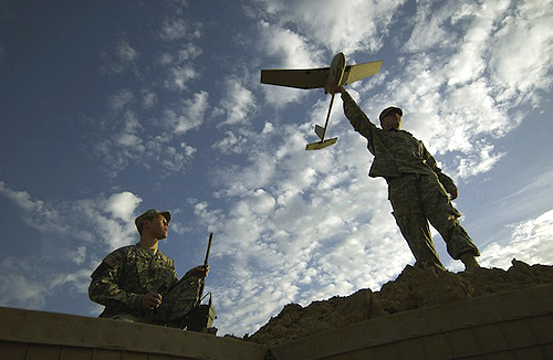 An AeroVironment Raven drone ready for launch at Forward Operating Base (FOB) McHenry in Iraq