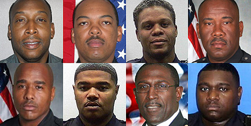 An investigation by the U.S. Attorney's Office has ensnared and led to the arrests of 10 current and former Atlanta metro area police officers, including eight pictured here: (top row) Denoris Carter; Victor Middlebrook; Chase Valentine; Kelvin Allen; (bottom row) Dennis Duren; Monyette McLaurin; Andrew Monroe and Marquez Holmes.