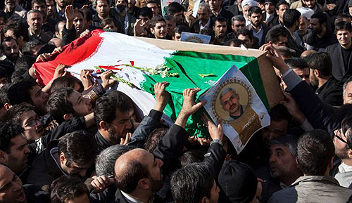 The coffin carrying Iran Revolutionary Guard commander Hassan Shateri.