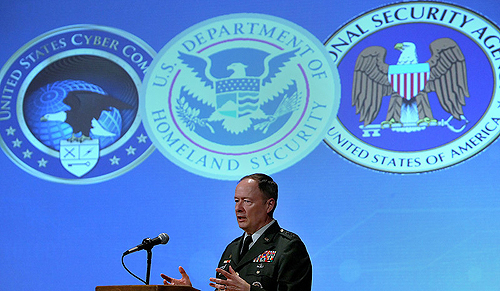 "Triple Threat: Gen. Keith B. Alexander is the present Director of NSA, Chief of CSS, and USCYBERCOM Commander. According to computer security expert and hacktivist Jacob Appelbaum, Gen. Alexander is ""the most powerful person in the world...even more powerful than the President of the United States or any leader of any other country."""