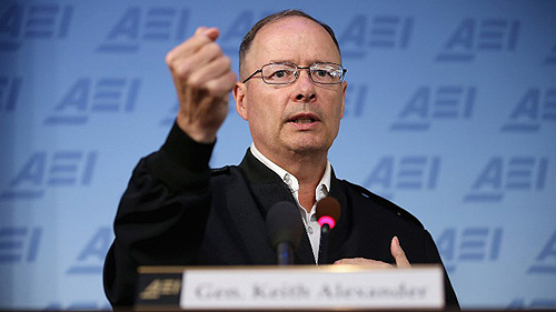 Gen. Keith Alexander, the commander of U.S. Cyber Command (USCYBERCOM), director of the National Security Agency (NS) and chief at the Central Security Service (CSS) at Fort George G. Meade, Maryland, speaks before the bloodthirsty savages of the American Enterprise Institute.