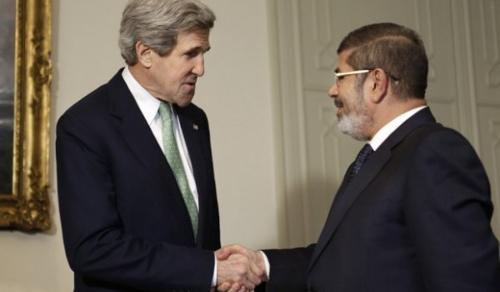 John Kerry and Mohamed Morsi