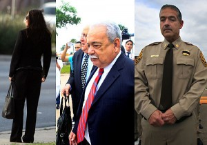 "Hidalgo County corruption: Sheriff Guadalupe ""Lupe"" Treviño (center), his chief of staff Maria Patricia Medina (left), and Cmdr. Jose Padilla (right) involved in accepting and laundering drug cartel bribes."