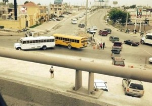Trucks and buses hijacked by Gulf Cartel operatives formed into blockades in Reynosa