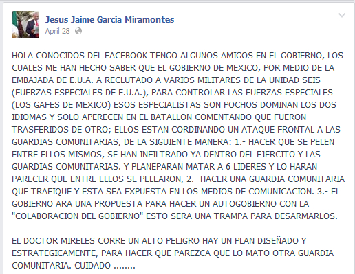 April 28, 2014 Facebook post by Jesus Jaime Garcia Miramontes