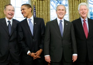 Bush, Clinton, W, and Obama